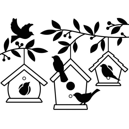 "Darice - Embossing Essentials - Embossing Folder 4.25""X5.75"" - Birdhouses In Tree"