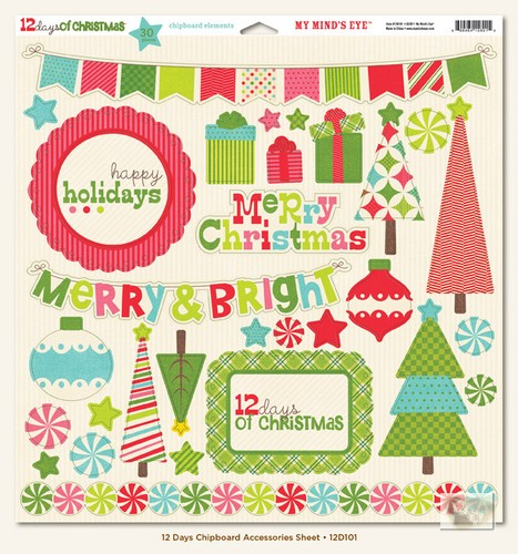 My Minds Eye - 12 Days of Christmas - Chipboard Accessories Sheet