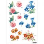 "3D Die-Cut Decoupage Sheet 8.3""X11.69"" - Flowers Rose, Blue Lily & Pansy"