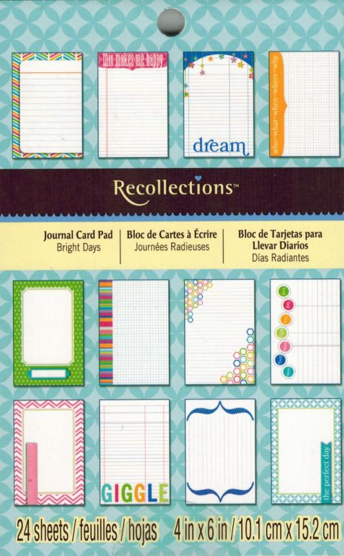 "Recollections - Journal Card Pad - Bright Days - 4"" x 6"" - 24 Pkg"