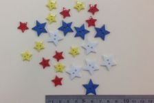 Boyle - Scrappy Bizz - Buttons Primary Colour Stars - 24 Pcs