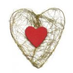 Boyle - Red wood Heart on Gold mesh Heart