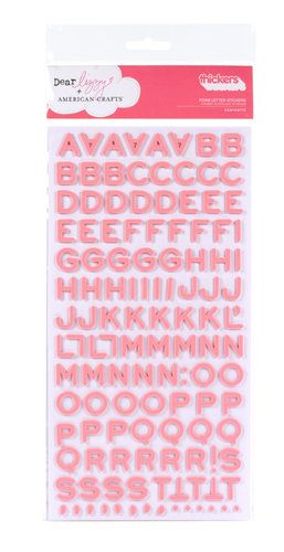 American Crafts - Thickers - Dear Lizzy Enchanted Collection -  Foam Alphabet Stickers - Fantastic - Salmon