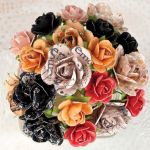 "Prima Marketing Inc - Lyric Collection - Wire Stem Paper Flowers .75"" & 1"" 20/Pkg - Mini Roses"