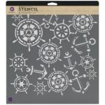 "Prima Marketing Inc - Designer Stencil 12""X12"" - Anchors & Helm"