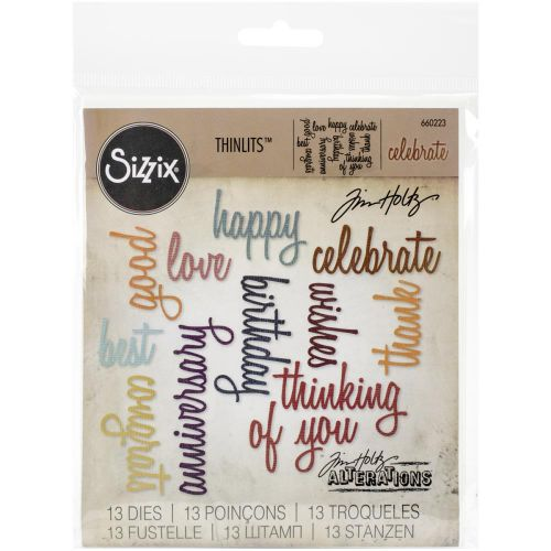 Sizzix - Tim Holtz - Alterations - Thinlits Dies 13/Pkg By Tim Holtz - Celebration Script Words