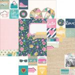 Simple Stories - So Fancy - 12 x 12 Double Sided Elements Paper - 2x2 & 6x8 Elements