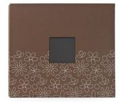 "American Crafts - Patterned Post Bound Album 12""X12"" Brown - Flowers"