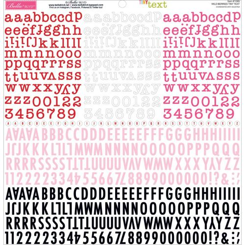 "Bella Blvd - Tiny Text Cardstock Alphabet Stickers 12""X12"" - Wild Berries"
