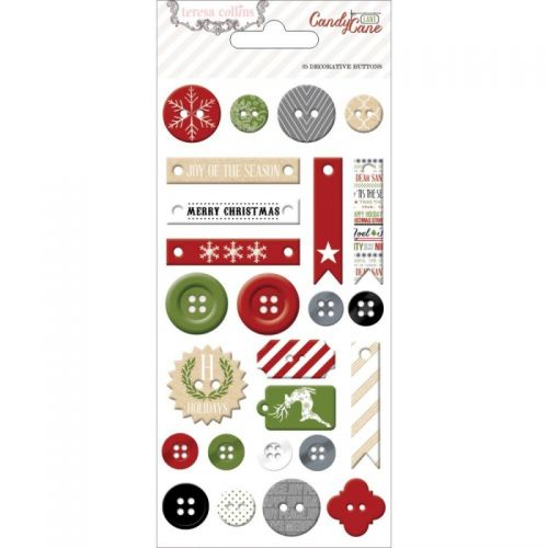 Teresa Collins Designs - Candy Cane Lane - Decorative Buttons