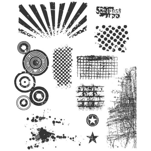 "Tim Holtz - Collection - Stampers Anonymous - Cling Rubber Stamp Set 7""X8.5""- Bitty Grunge"