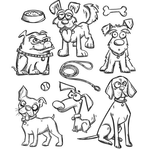 "Tim Holtz - Collection - Stampers Anonymous - Cling Rubber Stamp Set 7""X8.5""- Crazy Dogs"