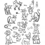 "Tim Holtz - Collection - Stampers Anonymous - Cling Rubber Stamp Set 7""X8.5""- Mini Cats & Dogs"
