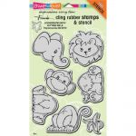 "Stampendous - Cling Stamps & Stencil 5""X7"" - Jungle Friends"