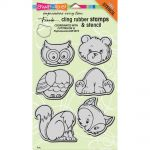 "Stampendous - Cling Stamps & Stencil 5""X7"" - Woodland Friends"