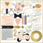 My Minds Eye - Fancy That - Blush 12x12 Gold Foiled Chipboard Elements