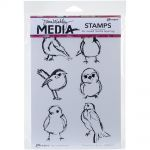 "Ranger - Dina Wakley Media - Cling Stamps 6""X9"" - Scribbly Small Birdies"