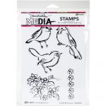"Ranger - Dina Wakley Media - Cling Stamps 6""X9"" - Scribbly Bird Cousins"
