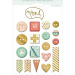 My Minds Eye - On Trend - Sweet Gold Foiled Chipboard Buttons 18/Pkg