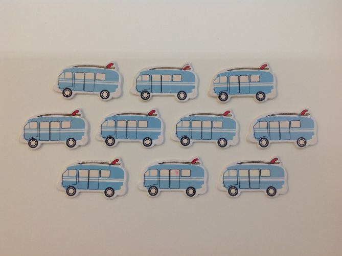 Boyle - Painted Wood Shapes - Kombi Van with Surfboard