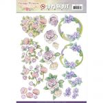 Find It Trading Jeanine's Art - Vintage Flowers - Punchout Sheet - Decoupage - Romantic Purple