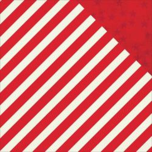 "Simple Stories - Claus & Co Double-Sided Cardstock 12""X12"" - Red Stripe/Stars Simple Basic"