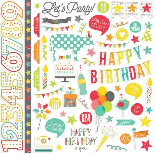 "Simple Stories - Let's Party Cardstock Stickers 12""X12"" - Fundamentals"