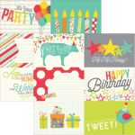 "Simple Stories - Let's Party Double-Sided Elements Cardstock 12""X12"" - 4""X6"" Horizontal Journaling Cards"