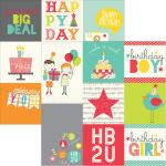 "Simple Stories - Let's Party Double-Sided Elements Cardstock 12""X12"" - 4""X4"" & 4""X6"" Vertical Journaling Cards"