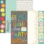"Simple Stories - Let's Party Double-Sided Elements Cardstock 12""X12"" - 2""X12"", 4""X12"" & 6""X12"""