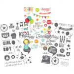 "Simple Stories - Let's Party Clear Stickers 4""X6"" Sheets 3/Pkg - 2 Gray & 1 Color"