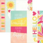 "Simple Stories - Sunshine & Happiness - Double-Sided Elements Cardstock 12""X12"" - 2""X12"", 4""X12"" & 6""X12"""