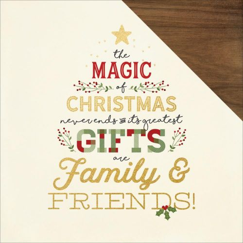 "Simple Stories - Classic Christmas - Foiled Double-Sided Cardstock 12""X12"" - Merry Christmas"