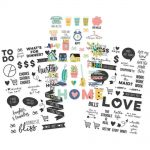 "Simple Stories - Domestic Bliss - Clear Stickers 4""X6"" 3/Pkg - (1) Color & (2) Black"