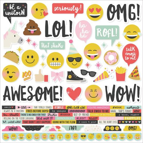 "Simple Stories - Emoji Love- Cardstock Stickers 12""X12"" - Combo"