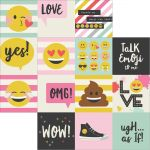 "Simple Stories - Emoji Love - Double-Sided Elements Cardstock 12""X12"" - 4""X4"" Journaling Cards"