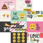 "Simple Stories - Emoji Love - Double-Sided Elements Cardstock 12""X12"" - 4""X6"" Horizontal Journaling Cards"