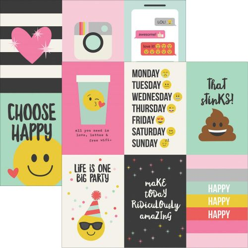 "Simple Stories - Emoji Love - Double-Sided Elements Cardstock 12""X12"" - 4""X6"" Vertical Journaling Cards"