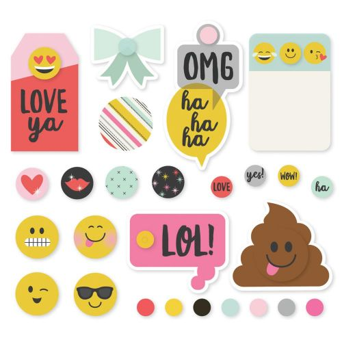 Simple Stories - Emoji Love - Metal Brads & Tags 26/Pkg