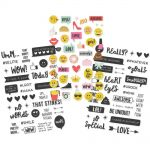 "Simple Stories - Emoji Love - Clear Stickers 4""X6"" 3/Pkg - (1) Color & (2) Black"