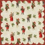"My Mind's Eye - Vintage Christmas -12x12"" Double Sided Patterned Glittered Paper - Tree Trimmer Paper"