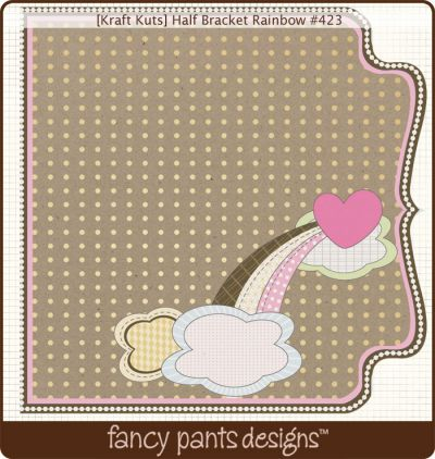 Fancy Pants - Kraft Kuts - Half Bracket Rainbow Die Cut