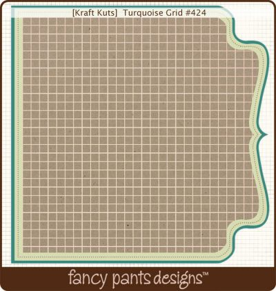 Fancy Pants - Kraft Kuts - Turquoise Grid Die Cut