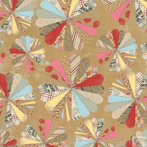 My Minds Eye - Kraft Funday -Happy Days - 12 x 12 Paper - Patchwork Party
