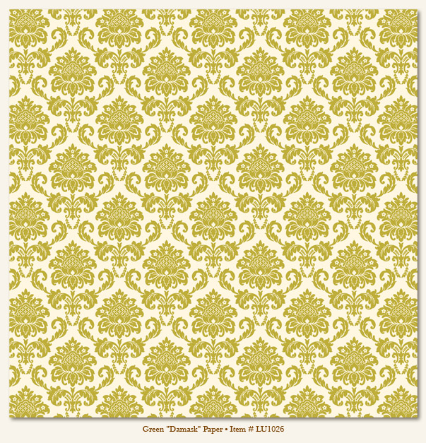 My Minds Eye - Lush - Green Damask Paper