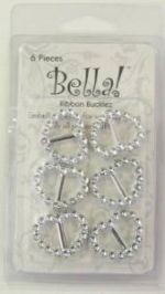 Bella -Ribbon Bucklz - Heart - 6 pces