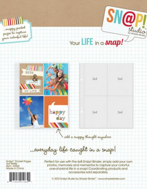 "Simple Stories Sn@p! Pocket Pages For 6"" x 8"" Binders 10/Pkg - (4) 3""X4"" Pockets"
