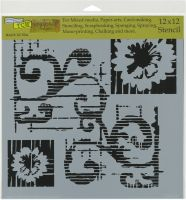 The Crafters Workshop - 12 x 12 Template - Flower Scroll