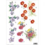 "3D Die-Cut Decoupage Sheet 8.3""X11.69"" - Flowers Star Flower, Red Daisy & Bouquet"