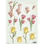 "3D Die-Cut Decoupage Sheet 8.3""X11.69"" - Polka Dot Flowers Calla, Tulip & Rose"